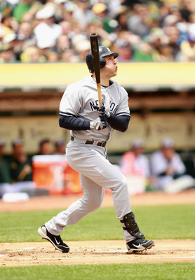 OAKLAND, CA - MAY 30:  Mark Teixeira #25 of the New York Yankees bats against the Oakland Athletics at Oakland-Alameda County Coliseum on May 30, 2011 in Oakland, California.  (Photo by Ezra Shaw/Getty Images)
