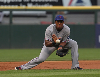 CHICAGO, IL - MAY 17: Adrian Beltre #29 of the Texas Rangers fields the ball at 3rd base against the Chicago White Sox at U.S. Cellular Field on May 17, 2011 in Chicago, Illinois. The White Sox defeated the Rangers 4-3. (Photo by Jonathan Daniel/Getty Ima