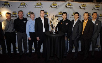 NEW YORK - SEPTEMBER 13:  NASCAR drivers pose with the NASCAR Nextel Cup trophy at the ESPN Zone on Chase Media Day September 13, 2007 in New York City.  (Photo by Jonathan Fickies/Getty Images for NASCAR)