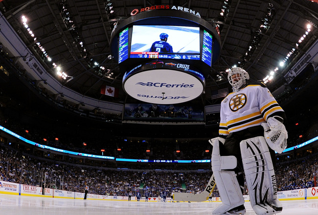 VANCOUVER, BC - JUNE 01:  Tim Thomas #30 of the Boston Bruins skates back to the goal during game one of the 2011 NHL Stanley Cup Finals at Rogers Arena on June 1, 2011 in Vancouver, Canada.  (Photo by Bruce Bennett/Getty Images)