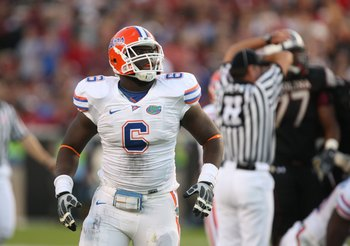 COLUMBIA, SC - NOVEMBER 14:  Jaye Howard #6 of the Florida Gators looks on during the game against the South Carolina Gamecocks at Williams-Brice Stadium on November 14, 2009 in Columbia, South Carolina. (Photo by Streeter Lecka/Getty Images)
