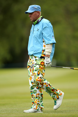 VIRGINIA WATER, ENGLAND - MAY 27:  John Daly of the USA walks up a fairway during the second round of the BMW PGA Championship at the Wentworth Club on May 27, 2011 in Virginia Water, England.  (Photo by Ian Walton/Getty Images)