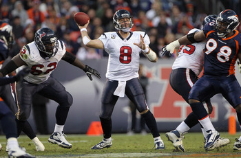 DENVER - DECEMBER 26:  Quarterback Matt Schaub #8 of the Houston Texas delivers a pass against the Denver Broncos at INVESCO Field at Mile High on December 26, 2010 in Denver, Colorado. The Broncos defeated the Texans 24-23.  (Photo by Doug Pensinger/Gett