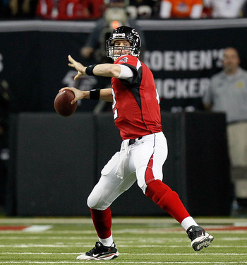 ATLANTA, GA - JANUARY 15:  Matt Ryan #2 of the Atlanta Falcons throws a pass against the Green Bay Packers during their 2011 NFC divisional playoff game at Georgia Dome on January 15, 2011 in Atlanta, Georgia.  (Photo by Kevin C. Cox/Getty Images)