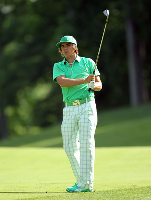 DUBLIN, OH - JUNE 02:  Ricky Fowler hits his scond shot on the par 4 9th hole during the first round of The Memorial Tournament presented by Nationwide Insurance at Muirfield Village Golf Club on June 2, 2011 in Dublin, Ohio.  (Photo by Andy Lyons/Getty I