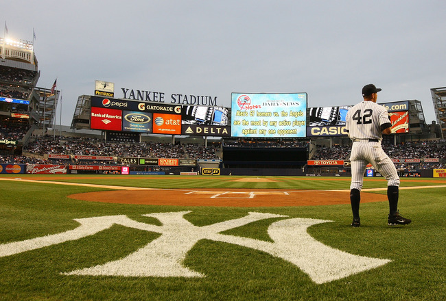 NEW YORK - APRIL 15:  Alex Rodriguez of the New York Yankees takes infield practice prior to a game against the Los Angeles Angels of Anaheim on April 15, 2010 in the Bronx borough of New York City.  All Major League players joined in wearing #42 today in
