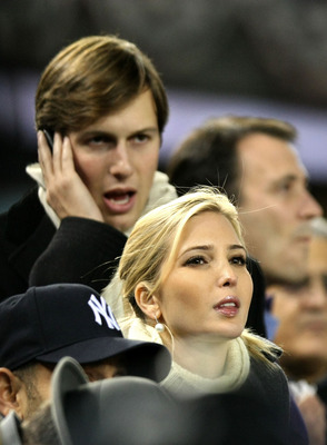 NEW YORK - NOVEMBER 04:  Ivanka Trump and her husband Jared Kushner attend Game Six of the 2009 MLB World Series between the New York Yankees and the Philadelphia Phillies at Yankee Stadium on November 4, 2009 in the Bronx borough of New York City.  (Phot