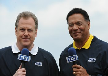 TAMPA, FL - MARCH 3: Commentators Michael Kay (left) and Ken Singleton during a pre-game show for the YES Network as the New York Yankees play against the Pittsburgh Pirates on March 3, 2010 at the George M. Steinbrenner  Field in Tampa, Florida. (Photo b
