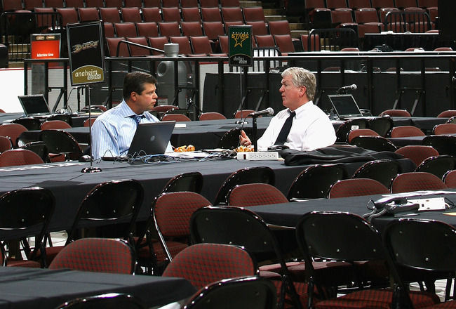OTTAWA, ON - JUNE 20:  Anaheim Ducks general manager Brian Burke (R) talks with Dave Nonis before the 2008 NHL Entry Draft at Scotiabank Place on June 20, 2008 in Ottawa, Ontario, Canada.  (Photo by Bruce Bennett/Getty Images)