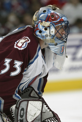 DENVER - MAY 25:  Goalie Patrick Roy #33 of the Colorado Avalanche waits for a faceoff against the Detroit Red Wings in the third period of game four of the Western Conference Finals during the NHL Stanley Cup Playoffs at the Pepsi Center in Denver, Color