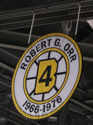 BOSTON - MARCH 04:  Robert Orr's retired number hangs in the rafters during the Toronto Maple Leafs versus the Boston Bruins on March 4, 2010 at the TD Garden in Boston, Massachusetts. The Bruins defeated the Maple Leafs 3-2 in an overtime shootout.  (Pho