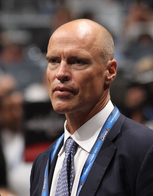 LOS ANGELES, CA - JUNE 25: Mark Messier of the New York Rangers works on the draft floor during the 2010 NHL Entry Draft at Staples Center on June 25, 2010 in Los Angeles, California. (Photo by Bruce Bennett/Getty Images)