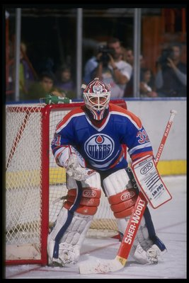 1988-1989:  Goaltender Grant Fuhr of the Edmonton Oilers. Mandatory Credit: Mike Powell  /Allsport