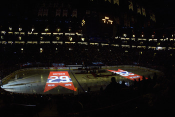 MONTREAL, CANADA - JANUARY 29:  A general view of a pre-game ceremony by the Montreal Canadiens to retire Ken Dryden's jersey #29 prior to the start of the game between the Ottawa Senators and the Montreal Canadiens on January 29, 2007 at the Bell Centre