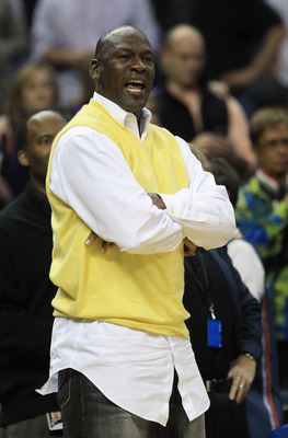 CHARLOTTE, NC - FEBRUARY 25:  Owner of the Charlotte Bobcats, Michael Jordan yells during their game against the Sacramento Kings at Time Warner Cable Arena on February 25, 2011 in Charlotte, North Carolina. NOTE TO USER: User expressly acknowledges and a
