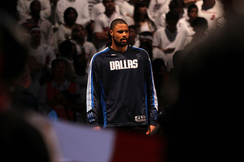 MIAMI, FL - JUNE 02:  Tyson Chandler #6 of the Dallas Mavericks stands during the performace of the National Anthem against the Miami Heat in Game Two of the 2011 NBA Finals at American Airlines Arena on June 2, 2011 in Miami, Florida. NOTE TO USER: User