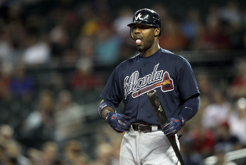 PHOENIX, AZ - MAY 18:  Jason Heyward #22 of the Atlanta Braves bats against the Arizona Diamondbacks during the Major League Baseball game at Chase Field on May 18, 2011 in Phoenix, Arizona.  The Diamondbacks defeated the Braves 5-4 in eleven innings.  (P