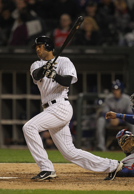CHICAGO, IL - MAY 17: Alex Rios #51 of the Chicago White Sox hits the ball against the Texas Rangers at U.S. Cellular Field on May 17, 2011 in Chicago, Illinois. The White Sox defeated the Rangers 4-3.  (Photo by Jonathan Daniel/Getty Images)
