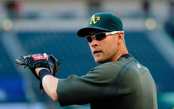 ANAHEIM, CA - MAY 25:  Daric Barton #10 of the Oakland Athletics during batting practice prior to the start of the baseball game against the Los Angeles Angels of Anaheim at Angel Stadium of Anaheim on May 25, 2011 in Anaheim, California.  (Photo by Kevor