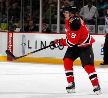 NEWARK, NJ - APRIL 02:  Zach Parise #9 of the New Jersey Devils skates during an NHL hockey game against the Montreal Canadians at the Prudential Center on April 2, 2011 in Newark, New Jersey.  (Photo by Paul Bereswill/Getty Images)