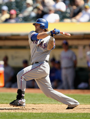 OAKLAND, CA - MAY 02:  Mike Napoli #25 of the Texas Rangers in action against the Oakland Athletics at Oakland-Alameda County Coliseum on May 2, 2011 in Oakland, California.  (Photo by Ezra Shaw/Getty Images)