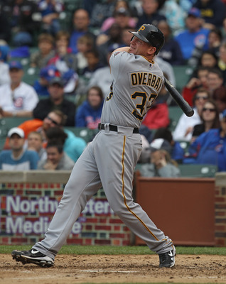 CHICAGO, IL - MAY 29:  Lyle Overbay #37 of the Pittsburgh Pirates takes a swing against the Chicago Cubs at Wrigley Field on May 29, 2011 in Chicago, Illinois. The Cubs defeated the Pirates 3-2.  (Photo by Jonathan Daniel/Getty Images)