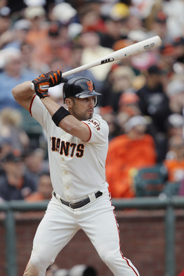 SAN FRANCISCO, CA - MAY 22:  Aaron Rowand #33 of the San Francisco Giants pinch-hits against the Oakland A's in the sixth inning at AT&T Park on May 22, 2011 in San Francisco, California.  The Giants won 5-4 in 11 innings.  (Photo by Brian Bahr/Getty Imag