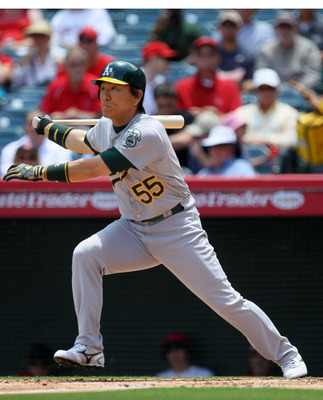 ANAHEIM, CA - MAY 26: Hideki Matsui #55 of the Oakland Athletics hits a single to lead off the second inning against the Los Angeles Angels of Anaheim on May 26, 2011 at Angel Stadium in Anaheim, California. Matsui went on to score a run in the inning.  (