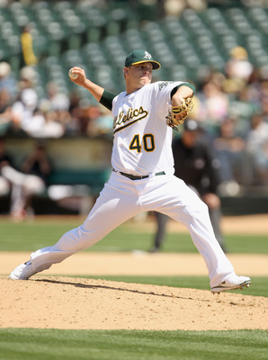 OAKLAND, CA - MAY 29:  Andrew Bailey #40 of the Oakland Athletics pitches against the Baltimore Orioles at Oakland-Alameda County Coliseum on May 29, 2011 in Oakland, California.  (Photo by Ezra Shaw/Getty Images)