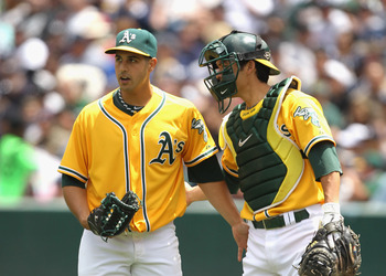 OAKLAND, CA - JUNE 01:  Kurt Suzuki #8 talks to Gio Gonzalez #47 of the Oakland Athletics after Gonzalez hit Derek Jeter #2 of the New York Yankees at Oakland-Alameda County Coliseum on June 1, 2011 in Oakland, California.  (Photo by Ezra Shaw/Getty Image