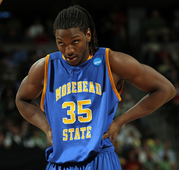 DENVER, CO - MARCH 17:  Kenneth Faried #35 of the Morehead State Eagles looks on during the second round of the 2011 NCAA men's basketball tournament at Pepsi Center on March 17, 2011 in Denver, Colorado.  (Photo by Doug Pensinger/Getty Images)
