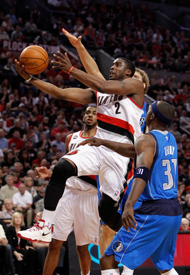 PORTLAND, OR - APRIL 23:  Wesley Matthews #2 of the Portland Trail Blazers lays up the ball against the Dallas Mavericks in Game Four of the Western Conference Quarterfinals in the 2011 NBA Playoffs on April 23, 2011 at the Rose Garden in Portland, Oregon