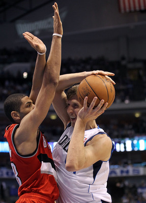 DALLAS, TX - APRIL 19:  Forward Dirk Nowitzki #41 of the Dallas Mavericks takes a shot against Nicolas Batum #88 of the Portland Trail Blazers in Game Two of the Western Conference Quarterfinals during the 2011 NBA Playoffs on April 19, 2011 at American A