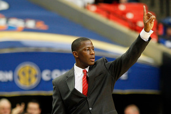 ATLANTA, GA - MARCH 12:  Head coach Anthony Grant of the Alabama Crimson Tide coaches against the Kentucky Wildcats during the semifinals of the SEC Men's Basketball Tournament at Georgia Dome on March 12, 2011 in Atlanta, Georgia.  (Photo by Kevin C. Cox