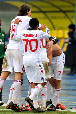 VERONA, ITALY - FEBRUARY 20:  Alexandre Pato of Milan celebrates with Robinho and Zlatan Ibrahimovic after scoring a goal during the Serie A match between AC Chievo Verona and AC Milan at Stadio Marc'Antonio Bentegodi on February 20, 2011 in Verona, Italy