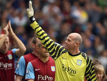 BIRMINGHAM, ENGLAND - MAY 22:  Brad Friedel of Aston Villa waves to supporters prior to the Barclays Premier League match between Aston Villa and Liverpool at Villa Park on May 22, 2011 in Birmingham, England.  (Photo by Bryn Lennon/Getty Images)