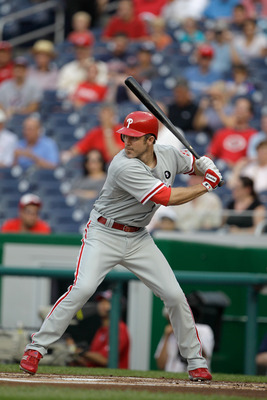 WASHINGTON, DC - MAY 31:  Chase Utley #26 of the Philadelphia Phillies at the plate against the Washington Nationals at Nationals Park on May 31, 2011 in Washington, DC. The Braves won 2-0. (Photo by Rob Carr/Getty Images)