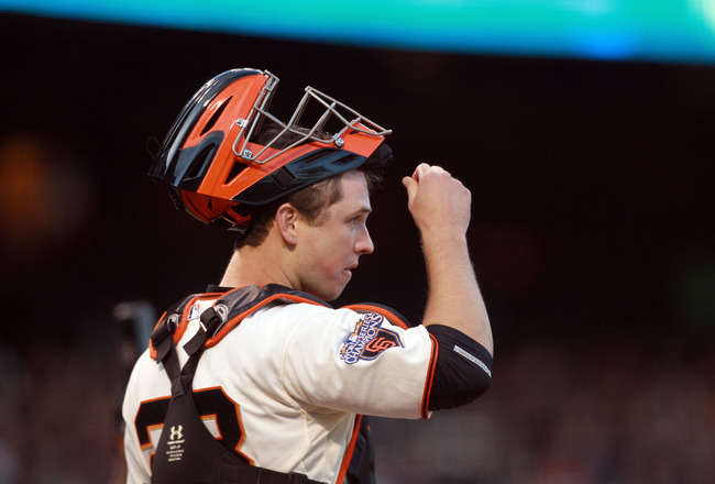 SAN FRANCISCO, CA - MAY 24: Buster Posey #28 of the San Francisco Giants gets ready to catch against the Florida Marlins at AT&amp;T Park on May 24, 2011 in San Francisco, California. (Photo by Ezra Shaw/Getty Images)