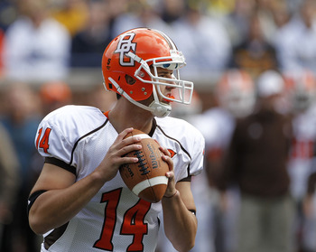 ANN ARBOR, MI - SEPTEMBER 25:  Aaron Pankratz #14 of Bowling Green drops back to pass in the first quarter during the game against the Michigan Wolverines on September 25, 2010 at Michigan Stadium in Ann Arbor, Michigan. Michigan defeated Bowling Green 65