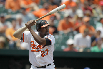 BALTIMORE, MD - MAY 26: Vladimir Guerrero #27 of the Baltimore Orioles at the plate against the Kansas City Royals at Oriole Park at Camden Yards on May 26, 2011 in Baltimore, Maryland.  (Photo by Rob Carr/Getty Images)