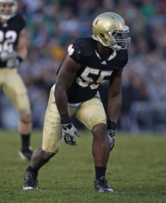 SOUTH BEND, IN - NOVEMBER 13: Prince Shembo #55 of the Notre Dame Fighting Irish awaits the start of play against the Utah Utes at Notre Dame Stadium on November 13, 2010 in South Bend, Indiana. Notre Dame defeated Utah 28-3. (Photo by Jonathan Daniel/Get