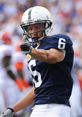 TAMPA, FL - JANUARY 1:  Wide receiver Derek Moye #6 of the Penn State Nittany Lions lines up for play against the Florida Gators January 1, 2010 in the 25th Outback Bowl at Raymond James Stadium in Tampa, Florida.  (Photo by Al Messerschmidt/Getty Images)