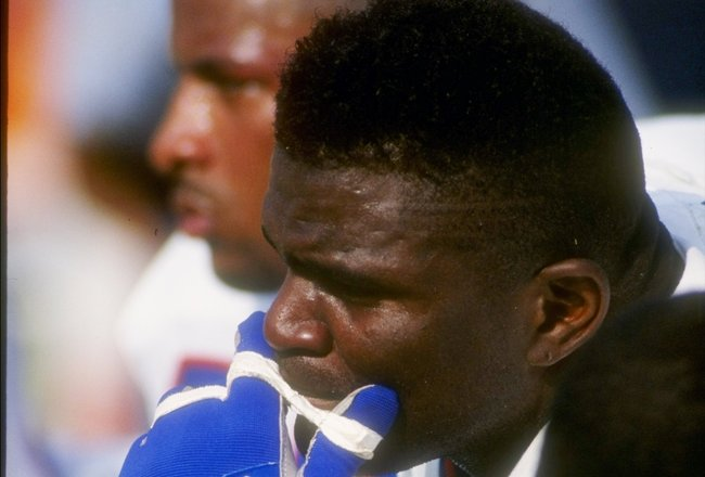 18 Oct 1992:  Linebacker Lawrence Taylor of the New York Giants looks on during a game against the Los Angeles Rams at Anaheim Stadium in Anaheim, California.  The Rams won the game, 38-17. Mandatory Credit: Ken Levine  /Allsport