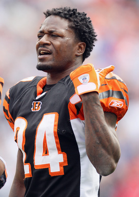 FOXBORO, MA - SEPTEMBER 12:  Adam Jones #24 of the Cincinnati Bengals talks from the sideline in the second half against the New England Patriots during the NFL season opener on September 12, 2010 at Gillette Stadium in Foxboro, Massachusetts.  (Photo by