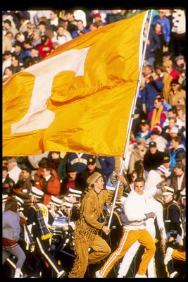 General view of the flag of the Tennessee Volunteers during a game against the Notre Dame Fighting Irish at Notre Dame Stadium in South Bend, Indiana.