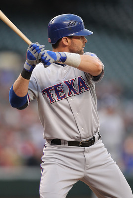 SEATTLE - MAY 04:  Michael Young #10 of the Texas Rangers bats against the Seattle Mariners at Safeco Field on May 4, 2011 in Seattle, Washington. (Photo by Otto Greule Jr/Getty Images)