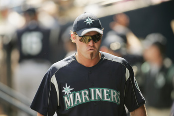 PEORIA, AZ - MARCH 3:   Scott Spiezio of the Seattle Mariners looks on against the San Diego Padres during a Spring Training game on March 3, 2005 at Peoria Stadium in Peoria, Arizona. The Mariners won 5-4.  (Photo by Nick Laham/Getty Images)