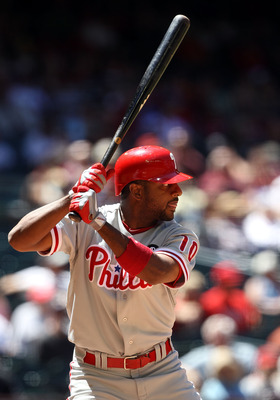 PHOENIX, AZ - APRIL 27:  Ben Francisco #10 of the Philadelphia Phillies bats against the Arizona Diamondbacks during the Major League Baseball game at Chase Field on April 27, 2011 in Phoenix, Arizona.  The Phillies defeated the Diamondbacks 8-4.  (Photo 
