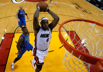 MIAMI, FL - JUNE 02:  LeBron James #6 of the Miami Heat dunks against DeShawn Stevenson #92 of the Dallas Mavericks in Game Two of the 2011 NBA Finals at American Airlines Arena on June 2, 2011 in Miami, Florida. The Mavericks won 95-92. NOTE TO USER: Use