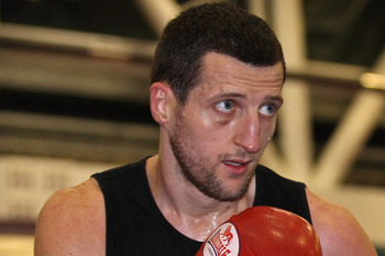 SHEFFIELD, ENGLAND - NOVEMBER 17:  Carl Froch spars during a media training day ahead of his Super Six fight against Arthur Abraham at the English Institute of Sport on November 17, 2010 in Sheffield, England.  (Photo by Alex Livesey/Getty Images)